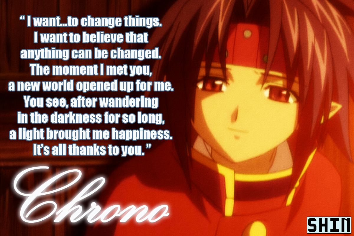 Chrono's famous quote in picture form.