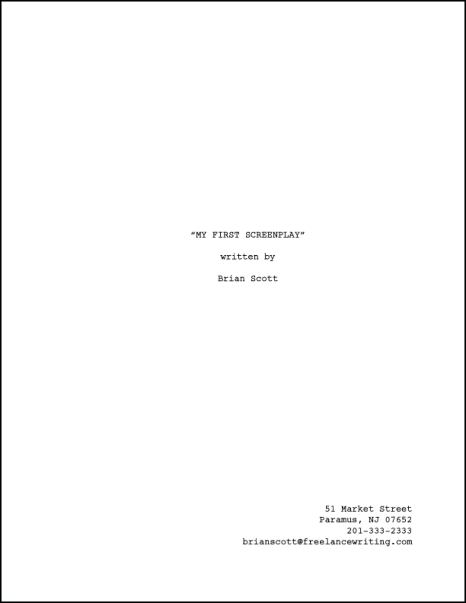 My screenplay Title page