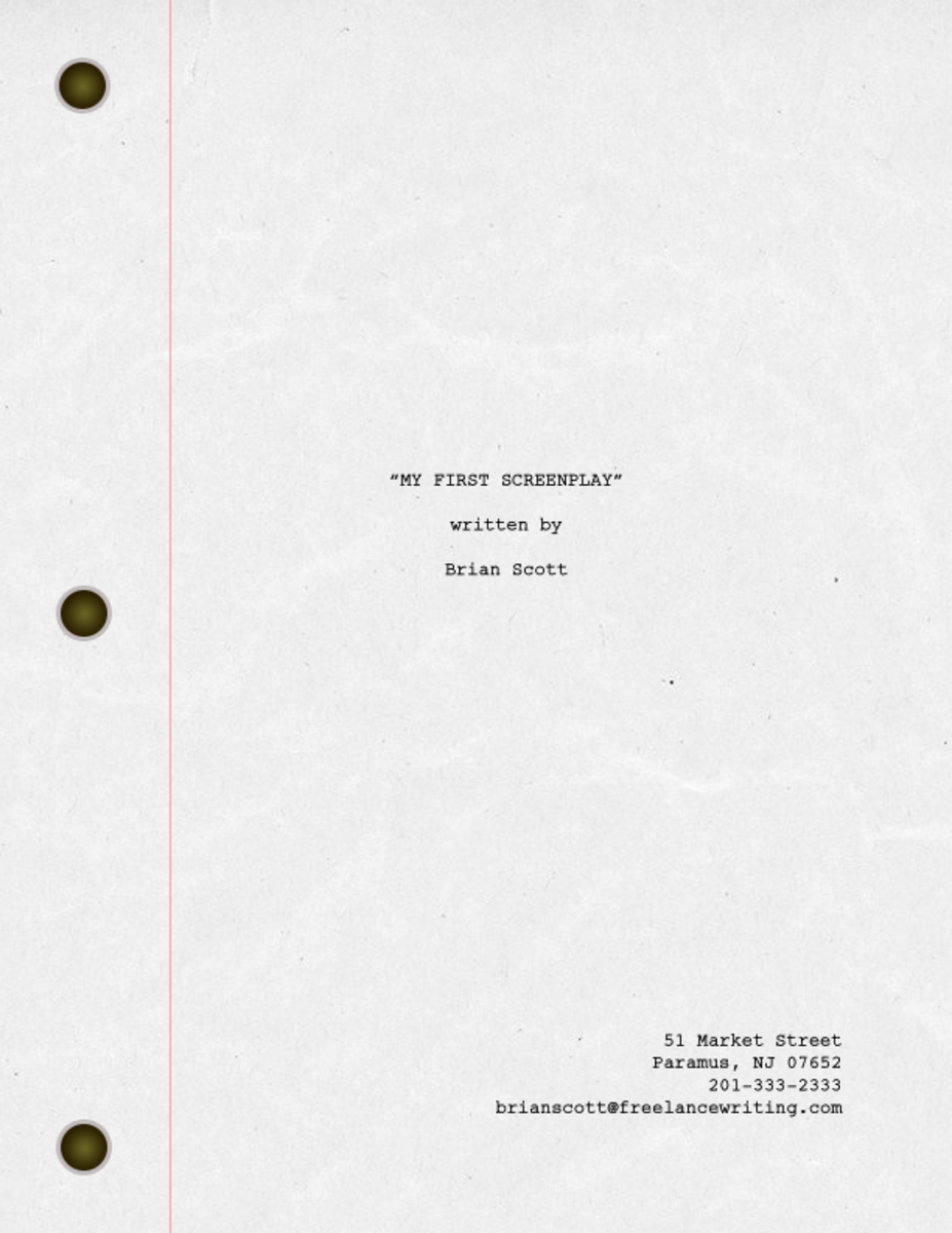 My screenplay Title page with a 3-hole punch