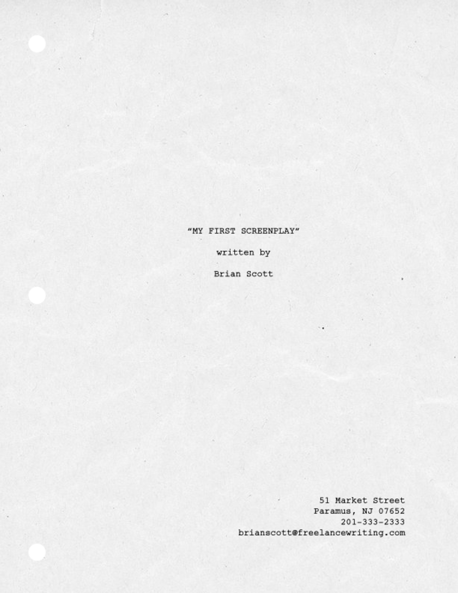My screenplay Title page with a 3-hole punch (second view)