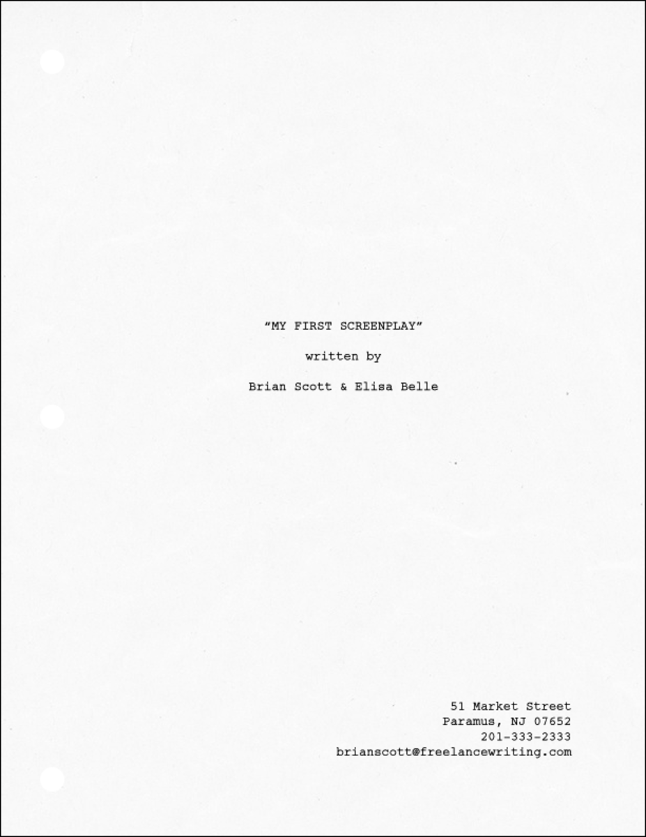 A screenplay Title page with co-authors