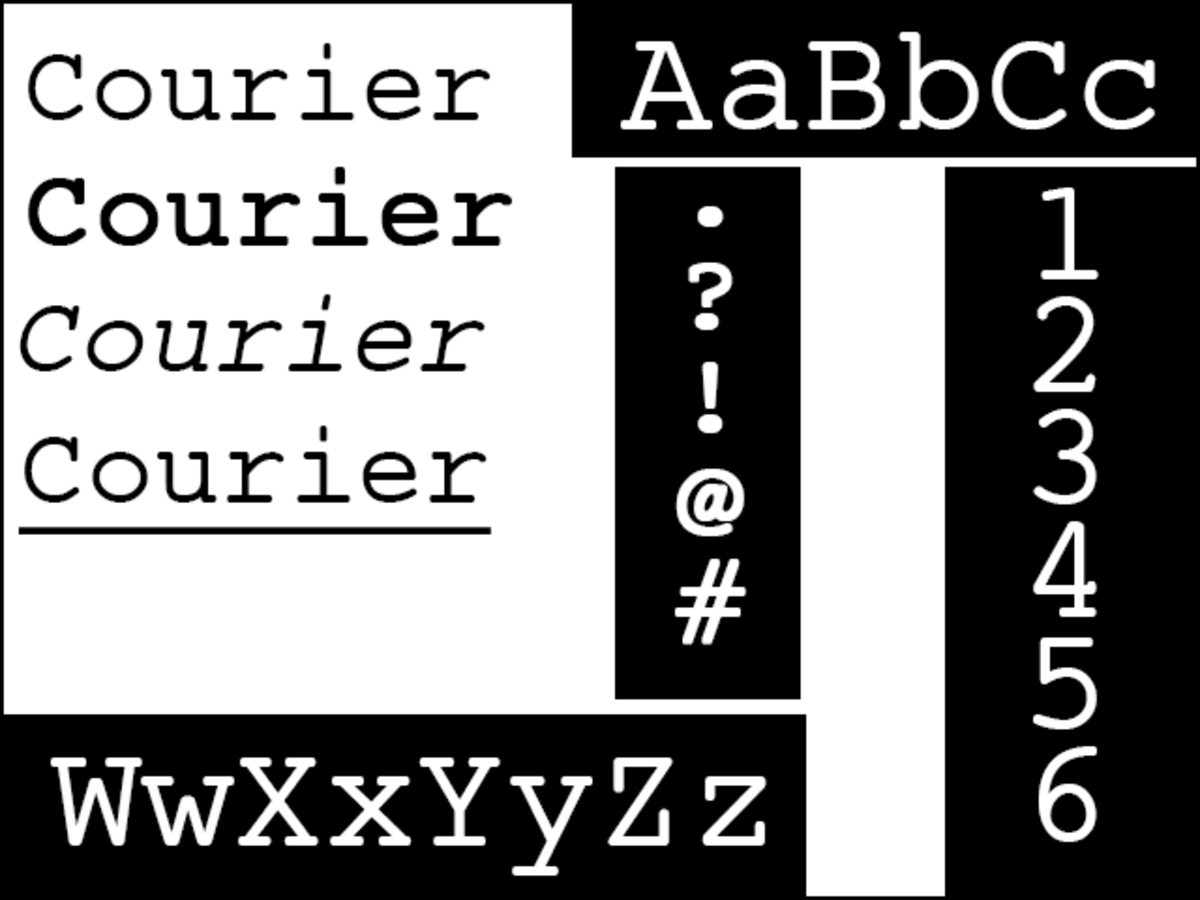 Courier Typeface - the standard font in screenwriting