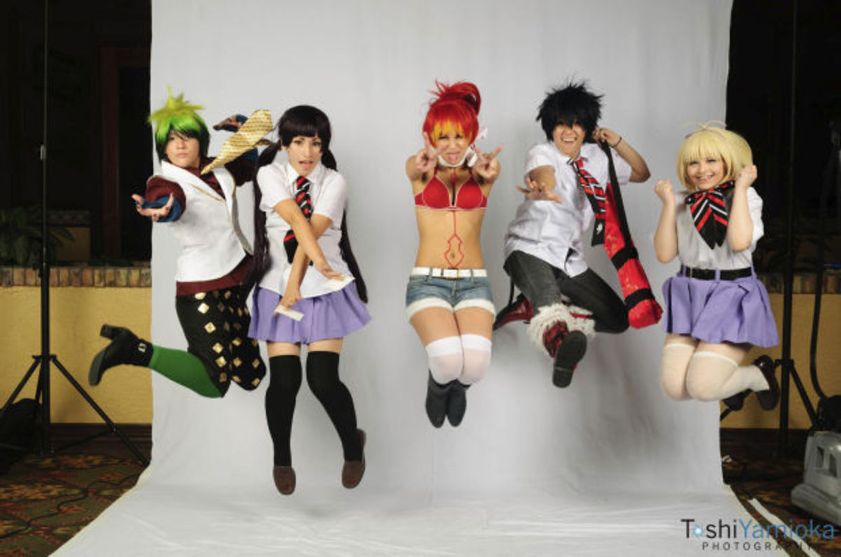 A group of cosplayers in a photo shoot at the Con-Nichiwa convention in Tucson, AZ, 2012.