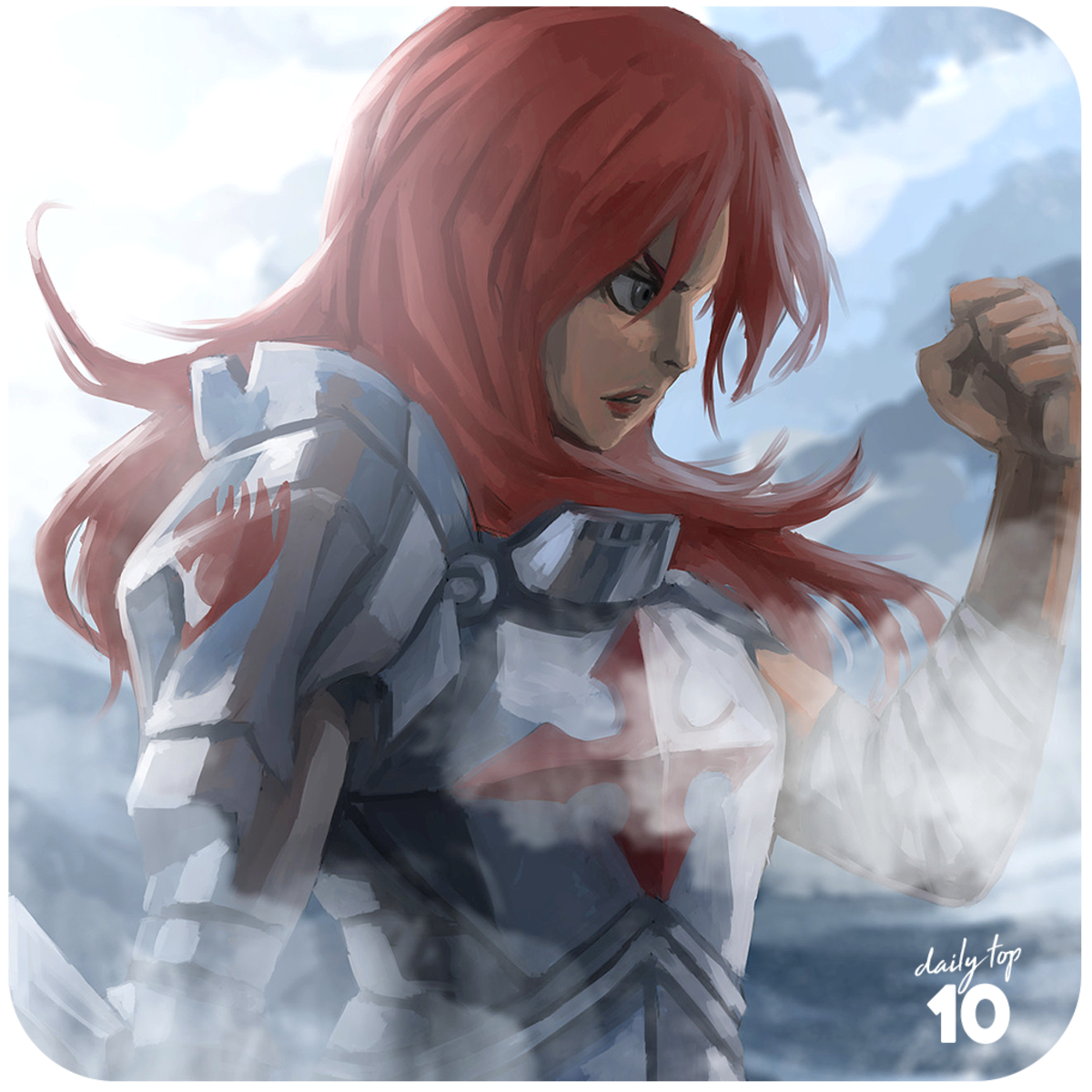 Erza Scarlet pastel color fan art.