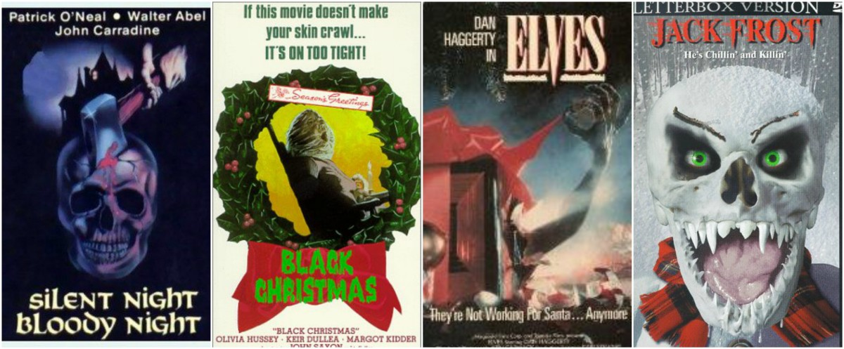 "L-R: ""Silent Night, Bloody Night"" (1972), ""Black Christmas"" (1974), ""Elves"" (1989), ""Jack Frost"" (1997)"