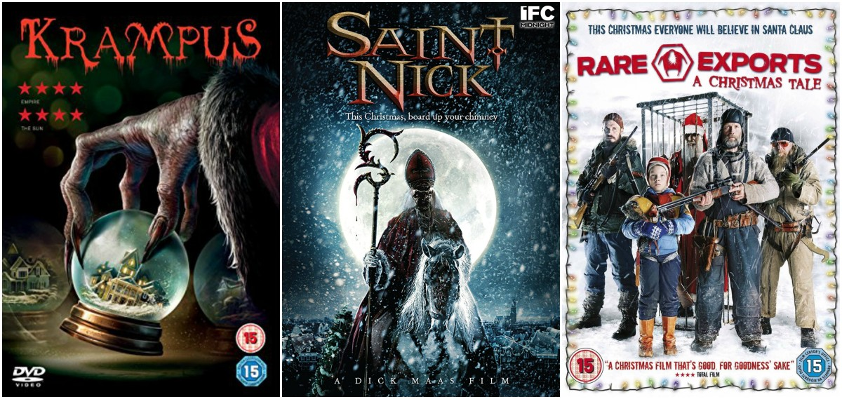 "L-R: ""Krampus"" (2015), ""Saint Nick"" aka ""Sint""  (2010), ""Rare Exports: A Christmas Tale"" (2010)"