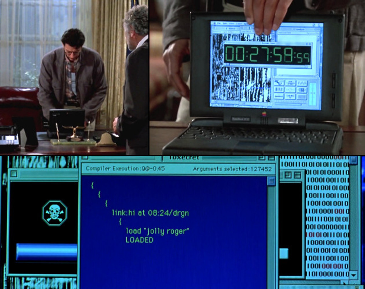"""""""Famous FUIs from Independece Day......(Top) When Jeff Goldblum finds out that the aliens are using satellite signals to coordinate an attack on Earth.   (Bottom)  Jeff Goldblum uploading """"virus"""" to alien mother ship."""