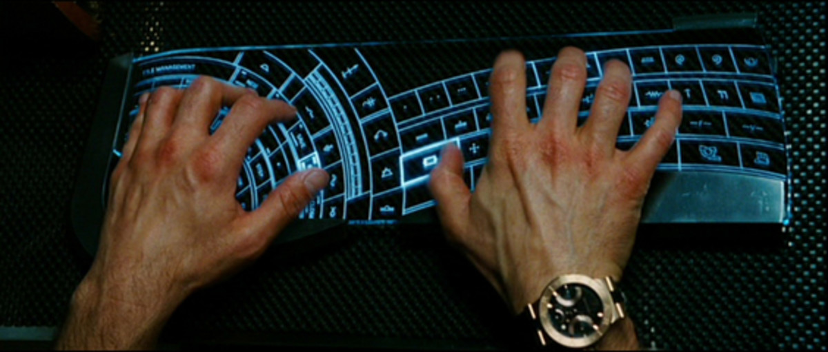 """""""Courtesy of Iron Man the movie....Tony Stark doing some engineering work on a wacked out keyboard not even in English."""""""