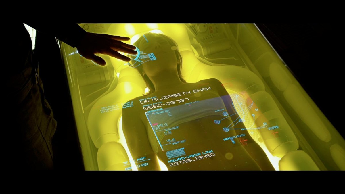 """Dr. Elizabeth Shaw in Stasis Capsule in the movie ""Prometheus.""  Check out her stats on the GUI."