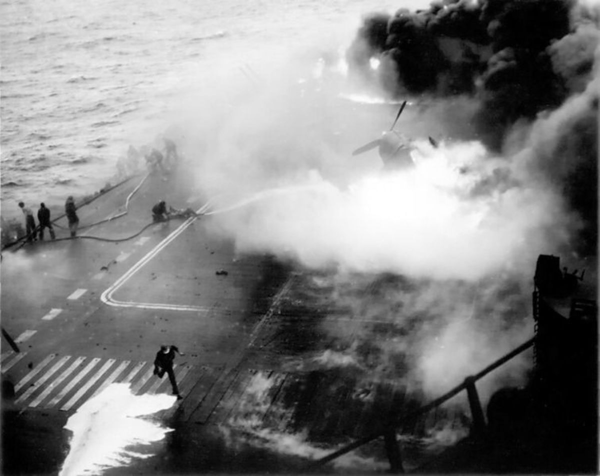 This is a real photo of a fire on an aircraft carrier during World War 2. It wasn't in the movie, but it's too good to miss!