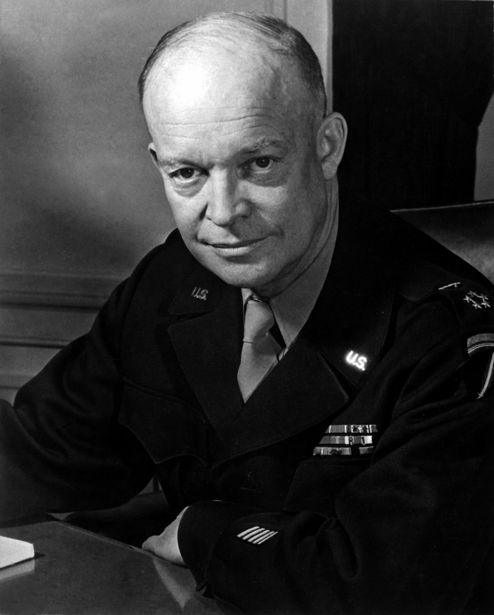 General Dwight D. Eisenhower, supreme commander of the Allied forces in Europe, less than a year after D-Day