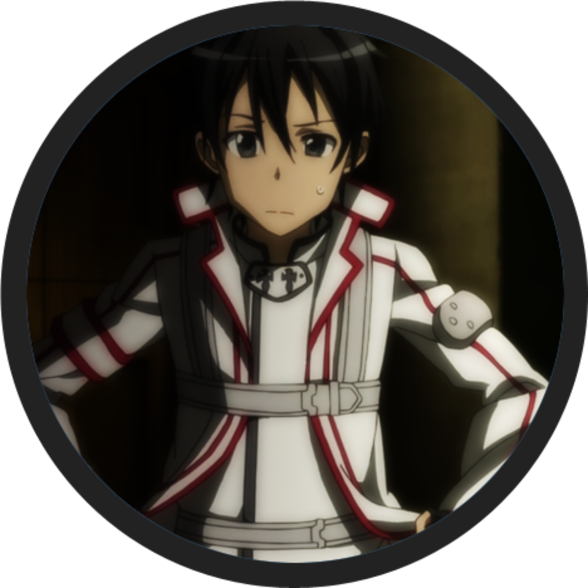 Kirito on Knights of the Blood uniform