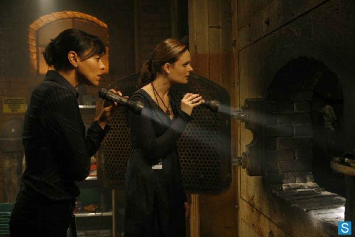 "Cam and Brennan investigate the crime scene in the season three episode ""Intern In The Incinerator""."