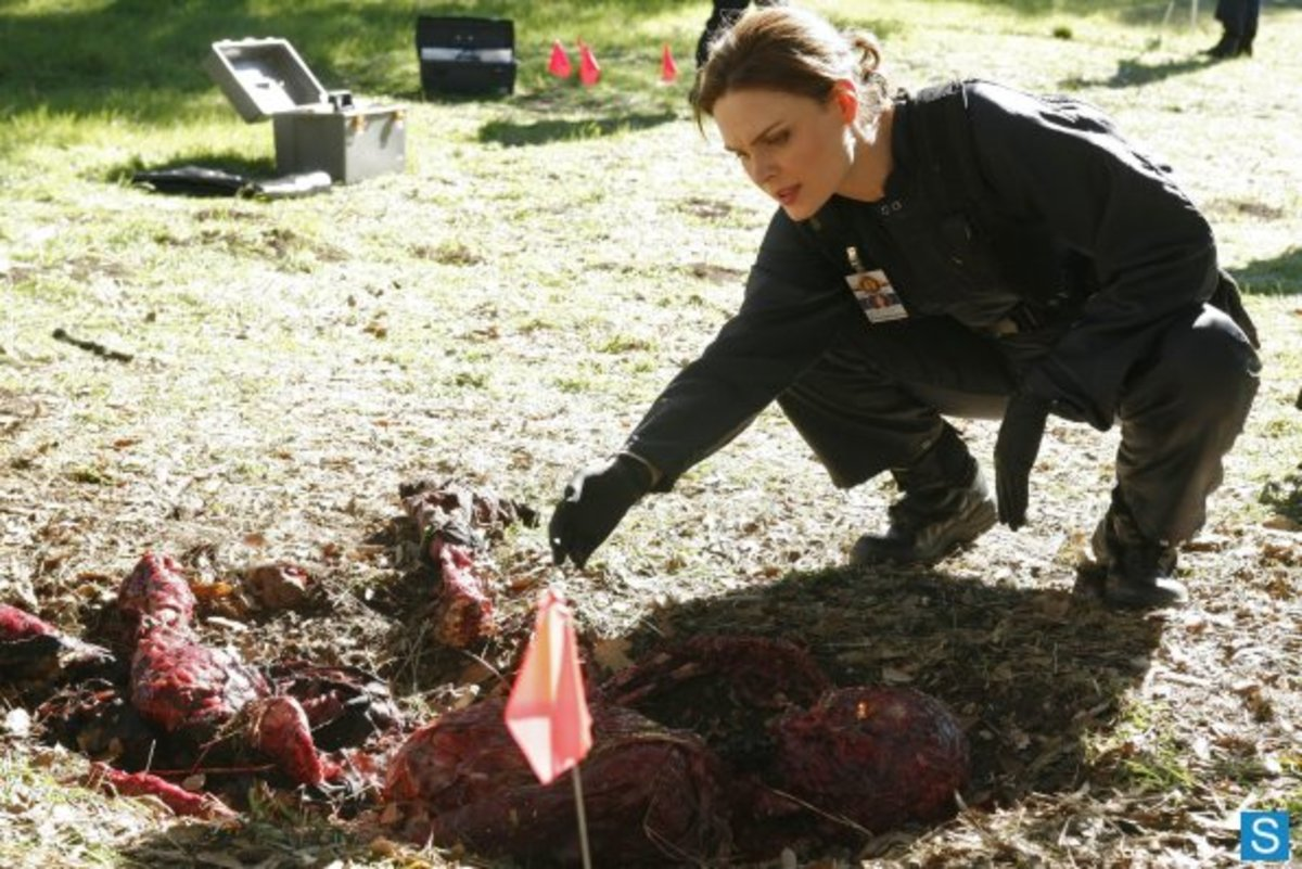 "Brennan examines the body in the season four episode ""The Doctor In The Den""."