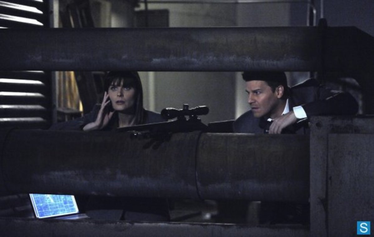 "Brennan and Booth work on capturing sniper Jacob Broadsky in the sixth season episode ""The Killer In The Crosshairs""."