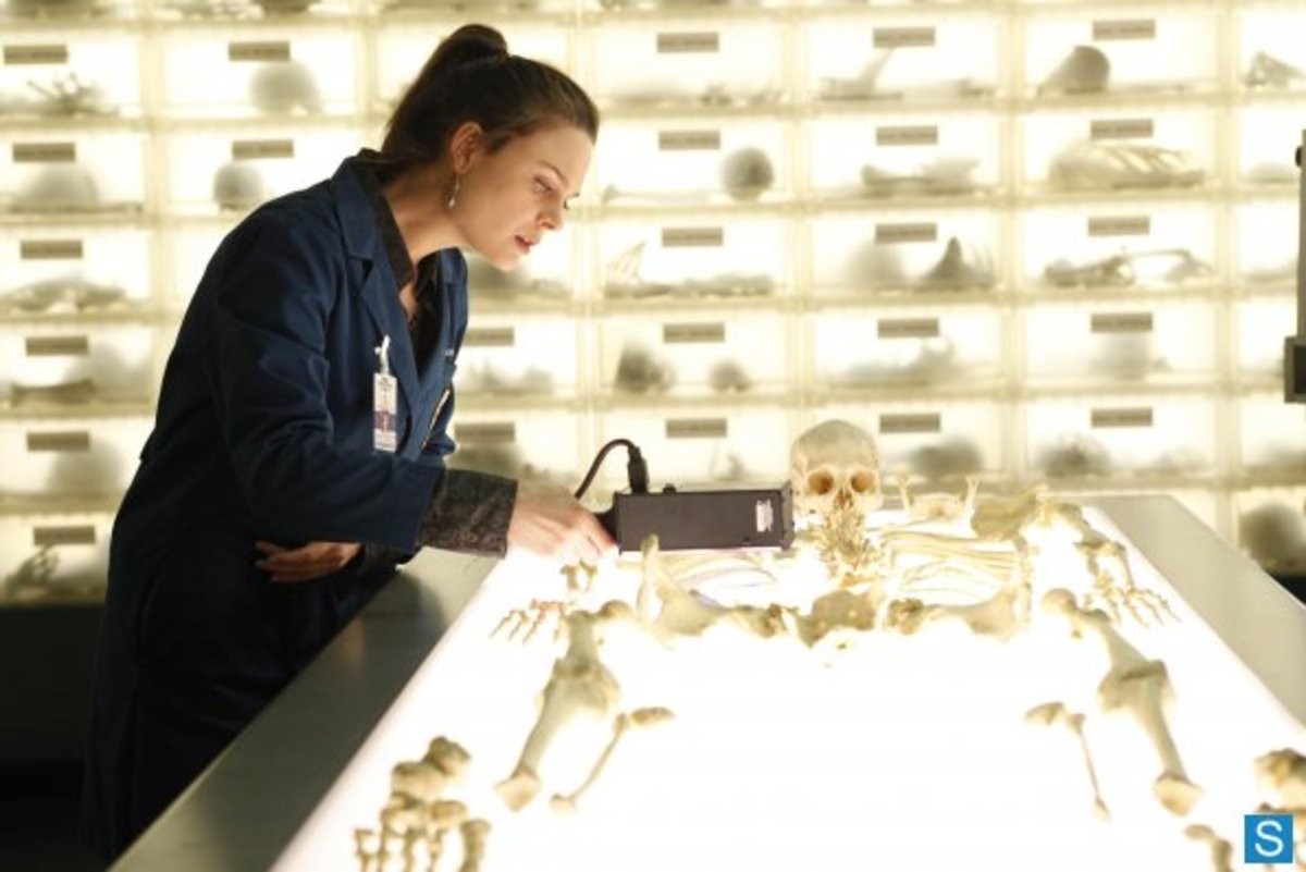 "Brennan looks over the bones in the season five episode ""The Part In The Sum Of The Whole."