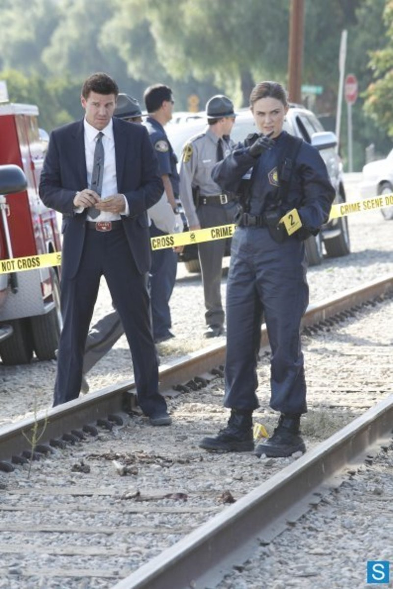 "Brennan and Booth investigate the crime scene in the fifth season episode ""The Plain In The Prodigy""."