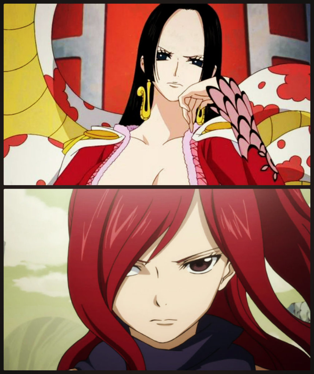 Boa Hancock (One Piece) - top Erza Scarlet (Fairy Tail) - bottom