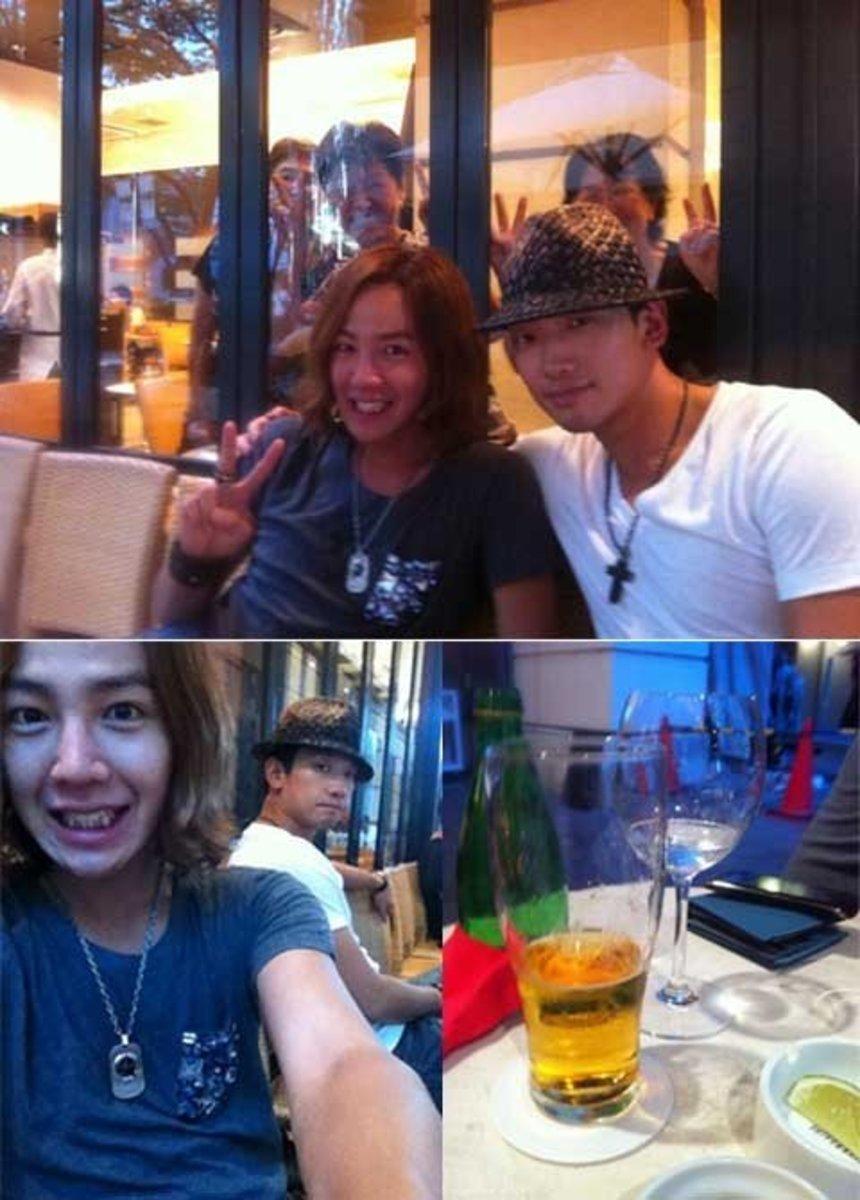 """A photo of Jang Keun Suk and Rain posted by Jang Keun Suk during one of their """"date nights""""."""