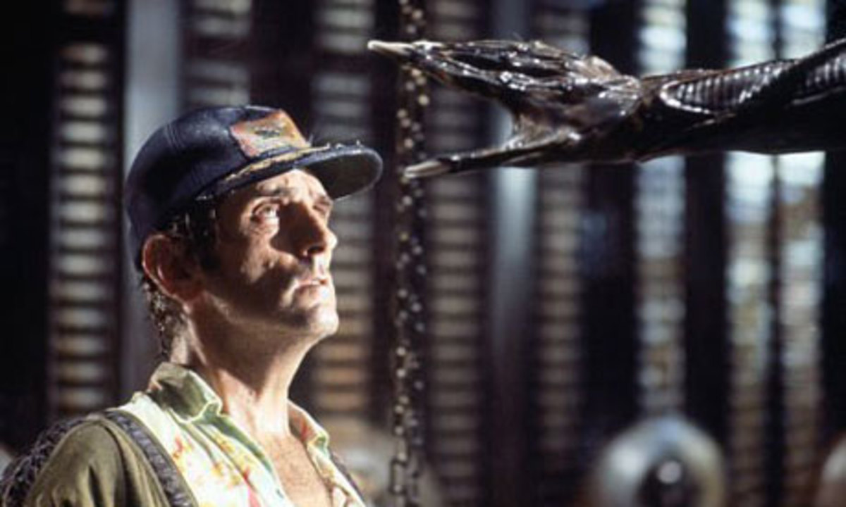 Brett (Harry Dean Stanton) realizes what they are actually facing in Alien