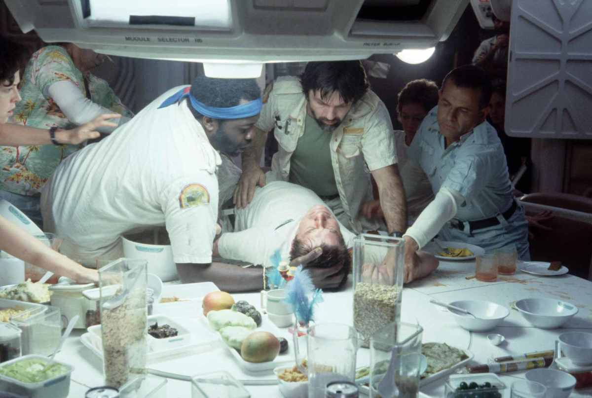 The famous dinner scene in Alien