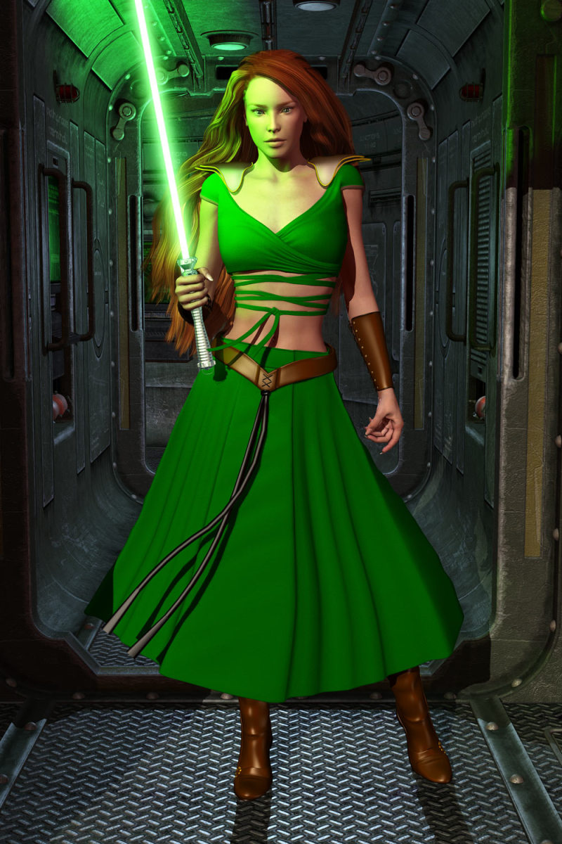 Nomi Sunrider with her husband's lightsaber.