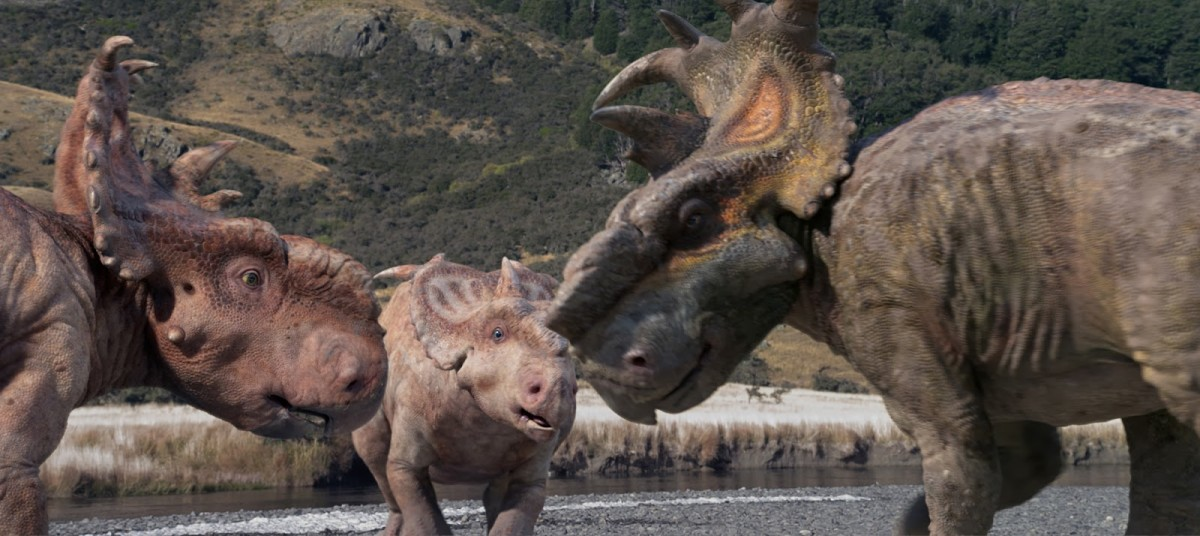 The film's Pachyrhinosaurus protagonists--Patchi, Juniper, and Scowler--as adults.