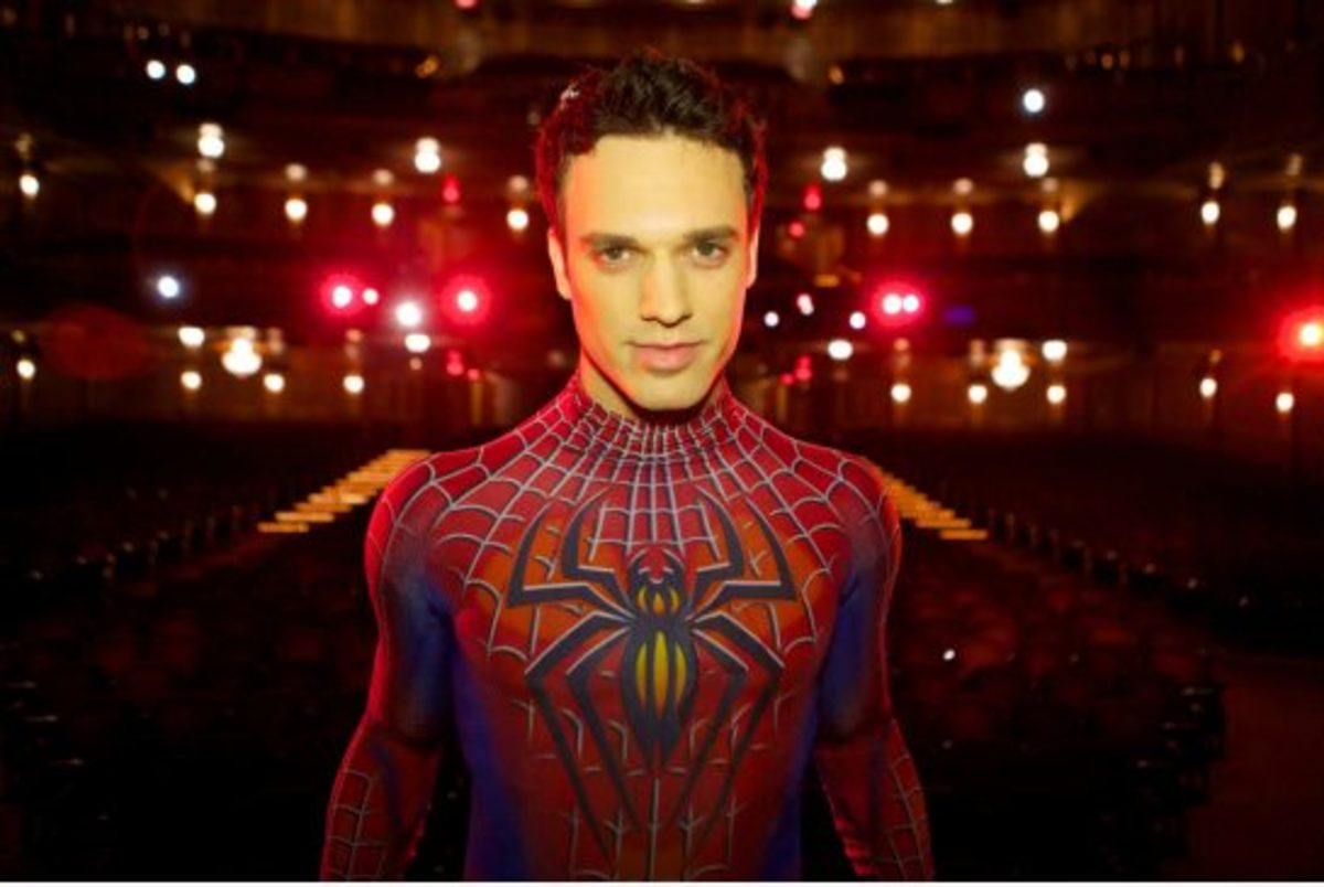 Jake Epstein now (pictured in costume for the musical, 'Spider-Man: Turn Off The Dark.')