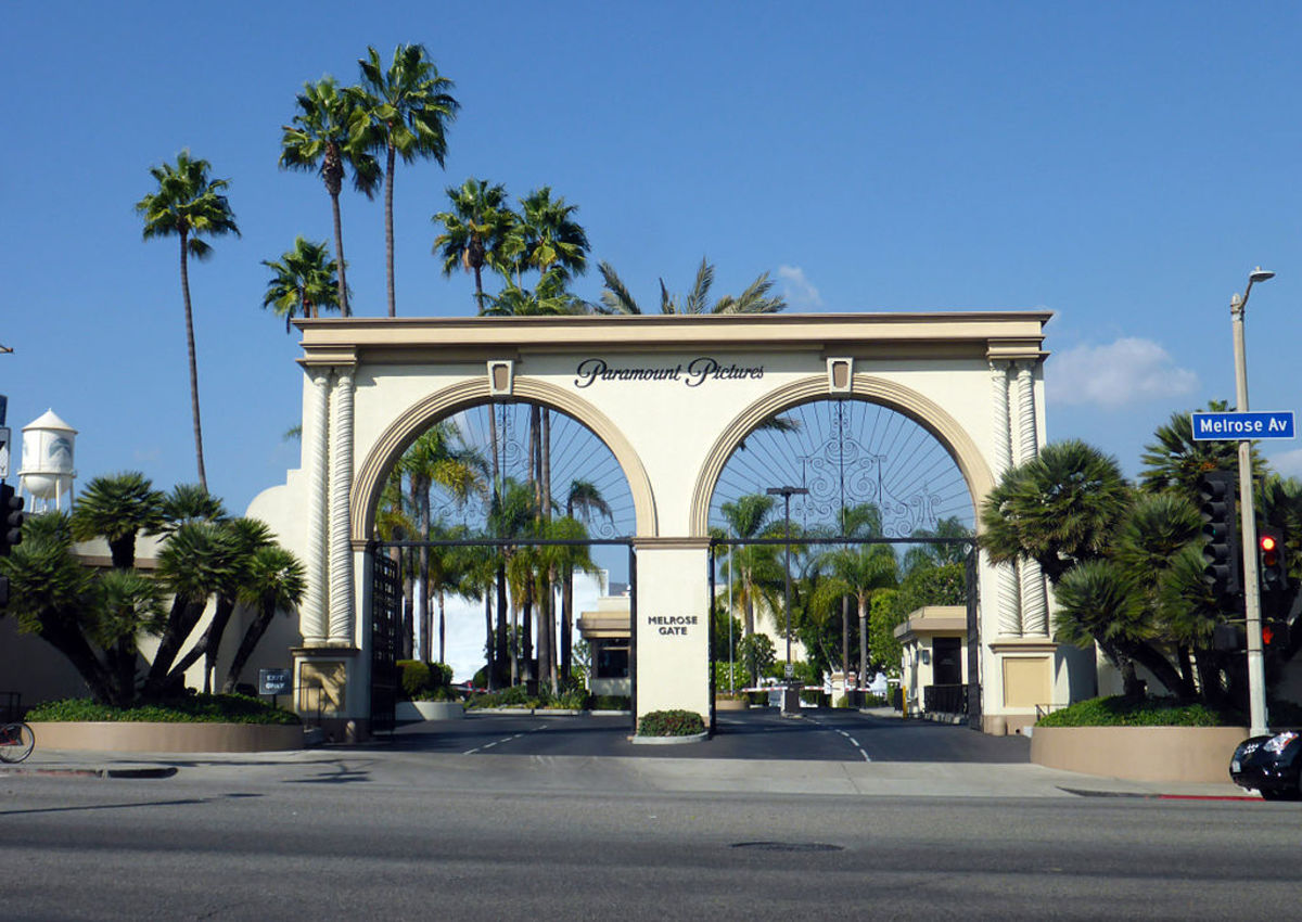 The entrance to the studio lot of Paramount Pictures.