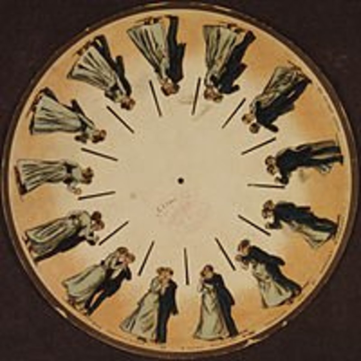 Eadweard Muybridge's Phenakistoscope: A Couple Waltzing; 1893. The spinning disk reflecting in a mirror shows the images moving.