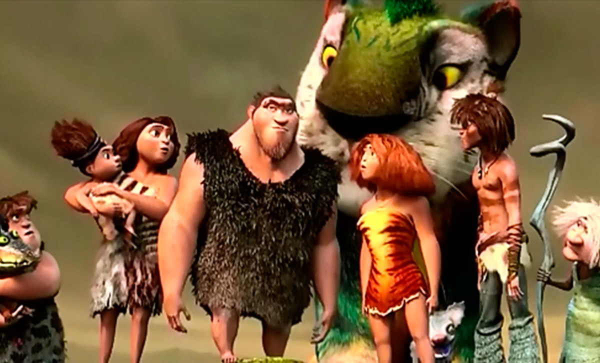 The Croods - disgusting, hungry, rough cavepeople who need to make it to a new land in a hurry.
