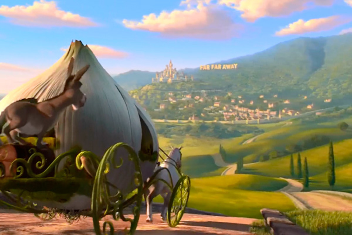 The kingdom of Far Far Away, introduced in Shrek 2.