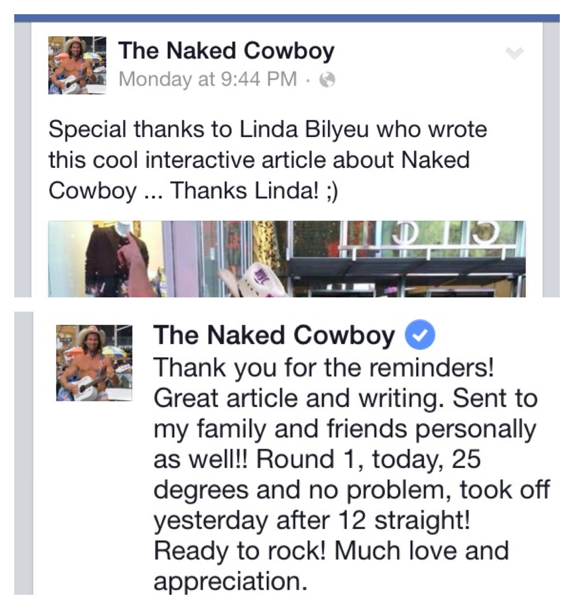 The Naked Cowboy expressed his appreciation of this tribute article via his Facebook page!