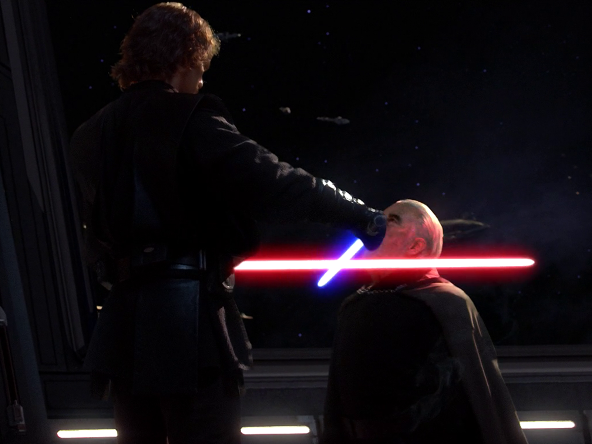 Anakin about to behead Dooku