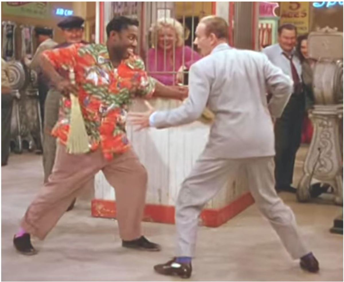 Leroy Daniels and Fred Astaire in the finale of their dance number.