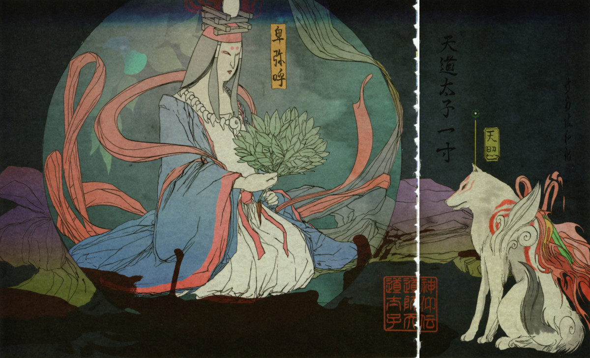 An artistic depiction of what Queen Himiko, the first known ruler of Japan may have looked like. Note the flowing garb, necklace, fan being used as a magical object/symbol of power, and an animal familiar. Features of the magical girl?