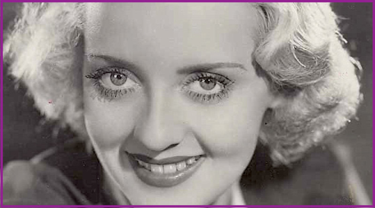 "Here is Bette Davis in 1933.  Those ""peeps"" are the inspiration for Kim Carnes' 1981 hit, ""Bette Davis Eyes."""