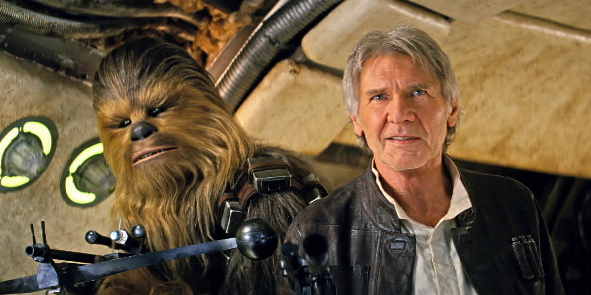 Chewbacca and Han Solo board the Millennium falcon in The Force Awakens