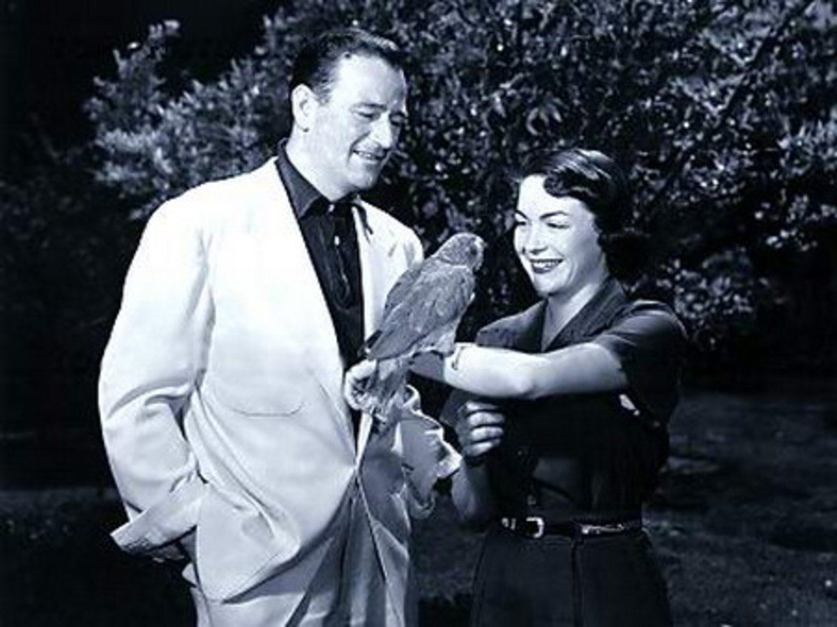 "John Wayne and Esperanza ""Chata"" Bauer. Photo used for educational purposes."