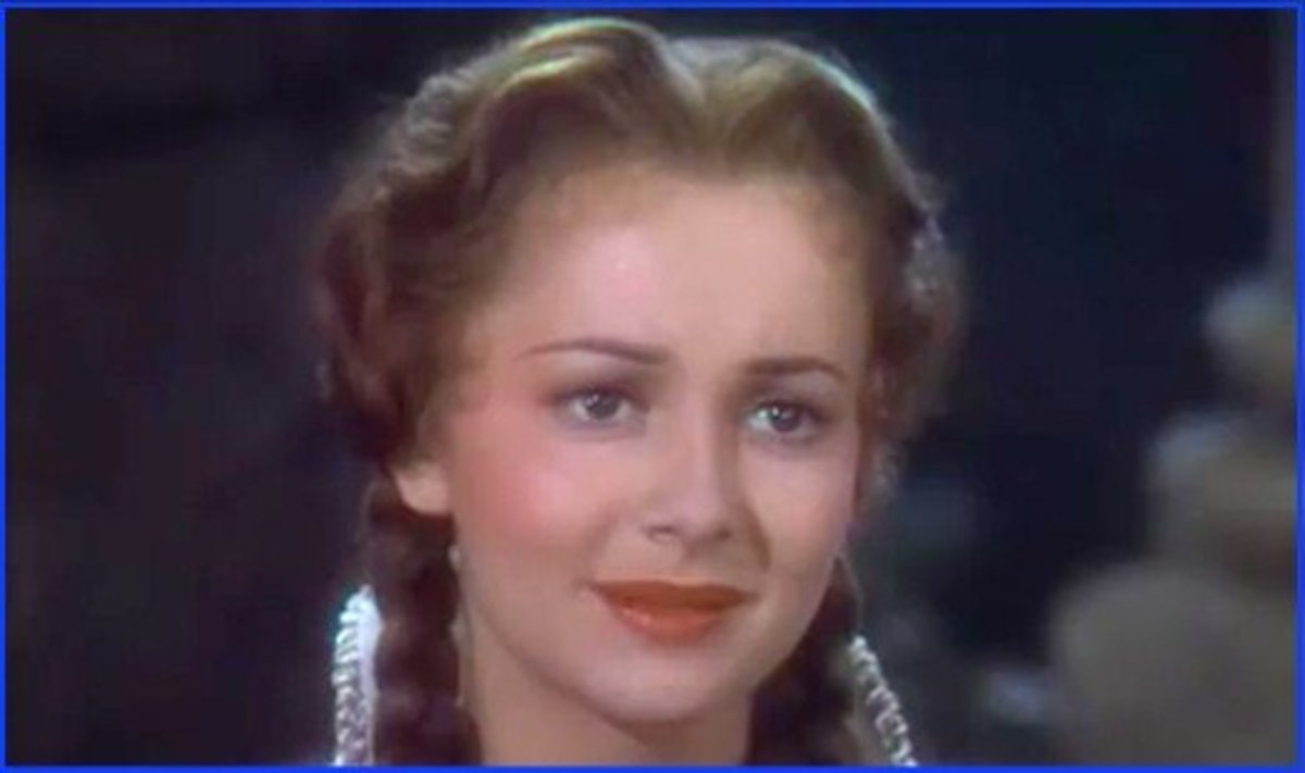 Olivia de Havilland in Robin Hood.  She starred with Errol Flynn in a number of popular movies.