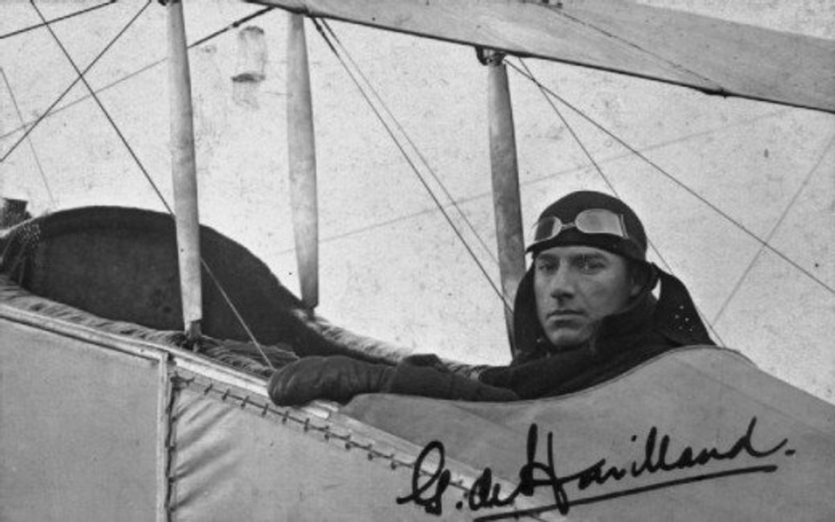 Olivia's famous cousin -- Sir Geoffrey de Havilland, a celebrated British aviator.