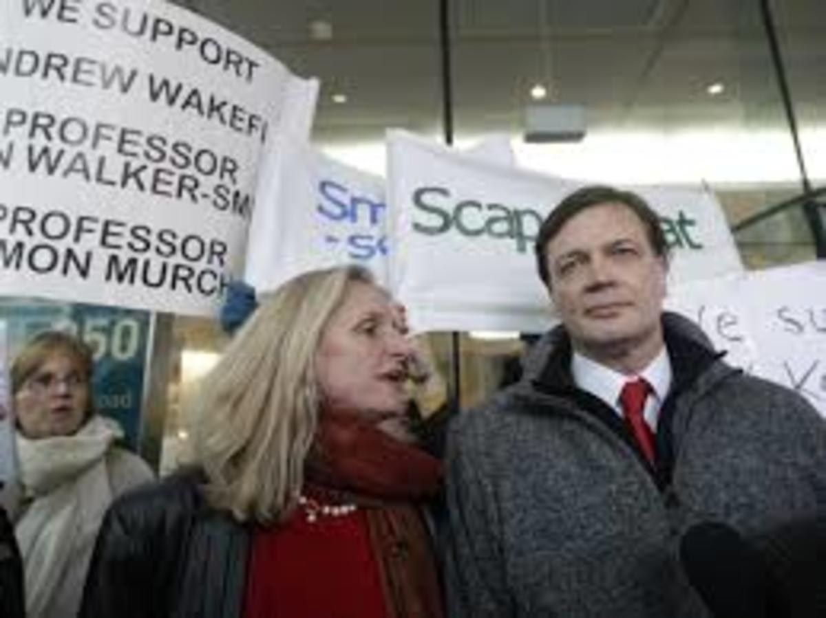 Dr Andrew Wakefield at the hearing regardig his Medical Licence with his wife Carmel.