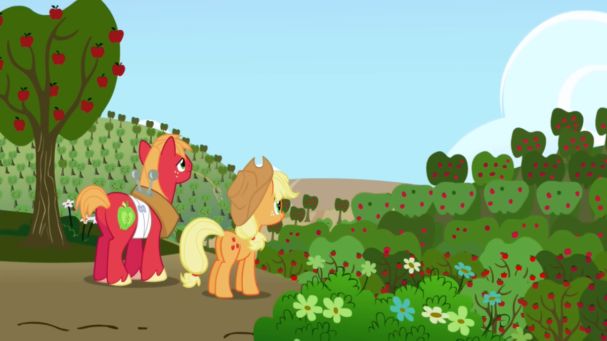 A lot of apple trees. Guess who thought she could harvest all of them?
