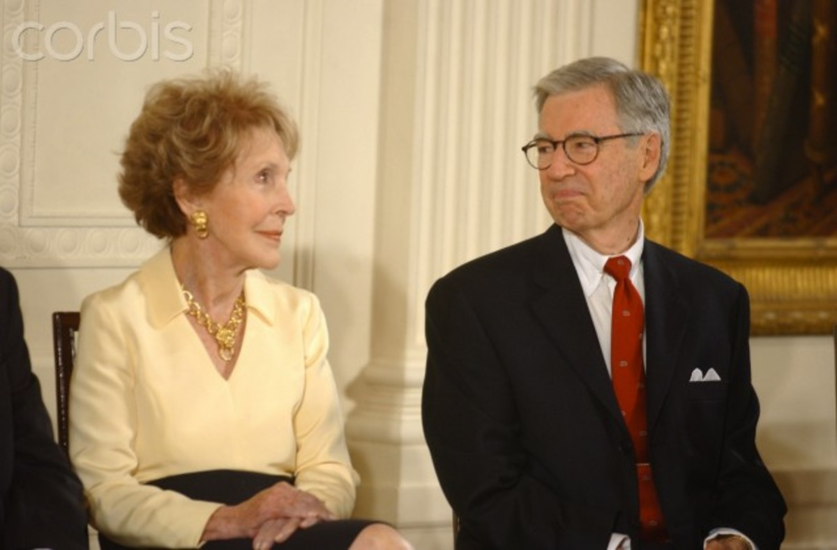 Rogers was  awarded  The Presidential Medal  of Freedom Award  July 9, 2002. Here he chats with former First Lady, Nancy Reagan