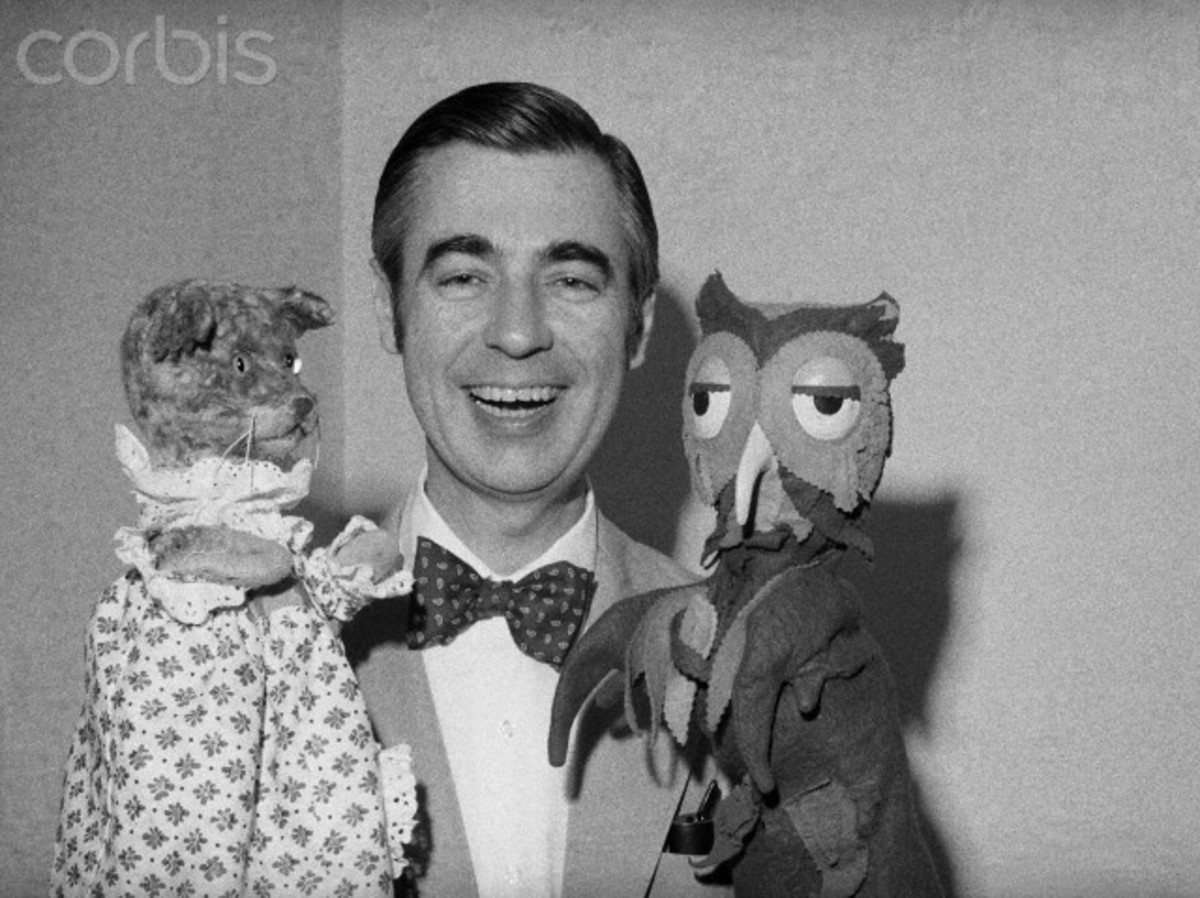 "Mr. Rogers with ""Cat"" and ""Owl,"" residents of ""The Magical Kingdom of Make Believe"""