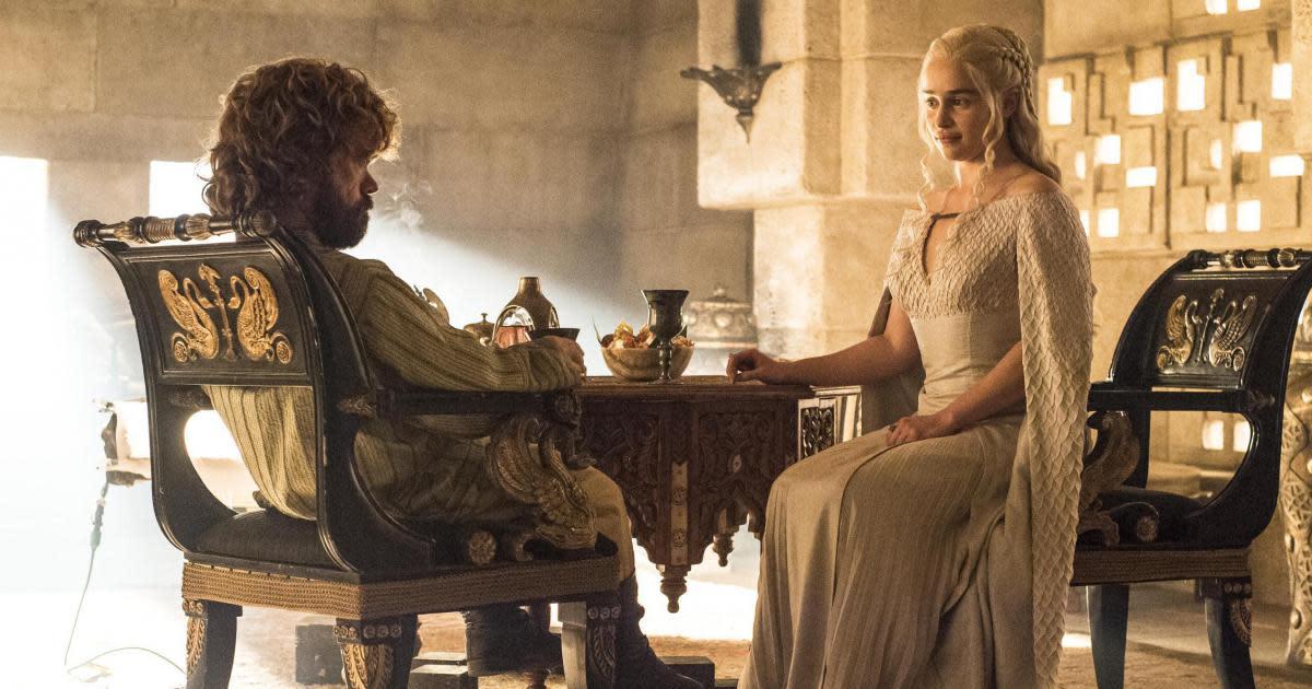 Tyrion (Peter Dinklage) meets Daenerys (Emilia Clarke)