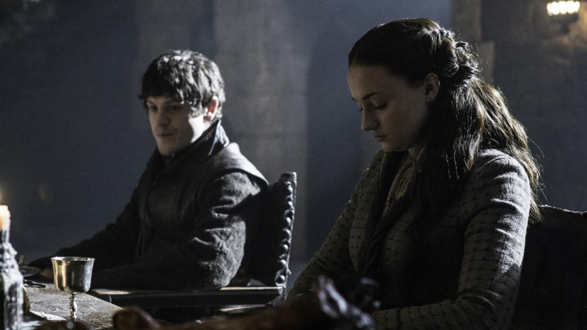 Ramsay (Iwan Rheon) and Sansa (Sophie Turner)