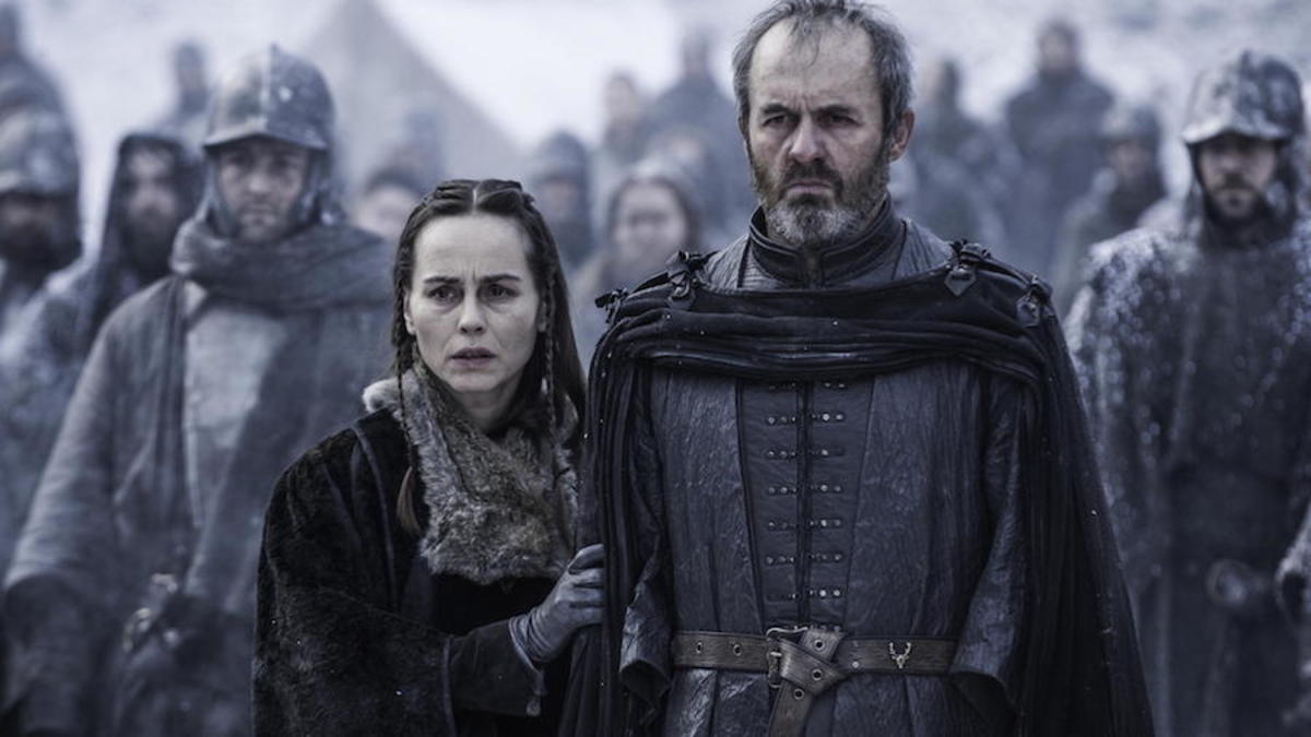 Stannis Baratheon (Stephen Dillane) and his wife (Tara Fitzgerald)
