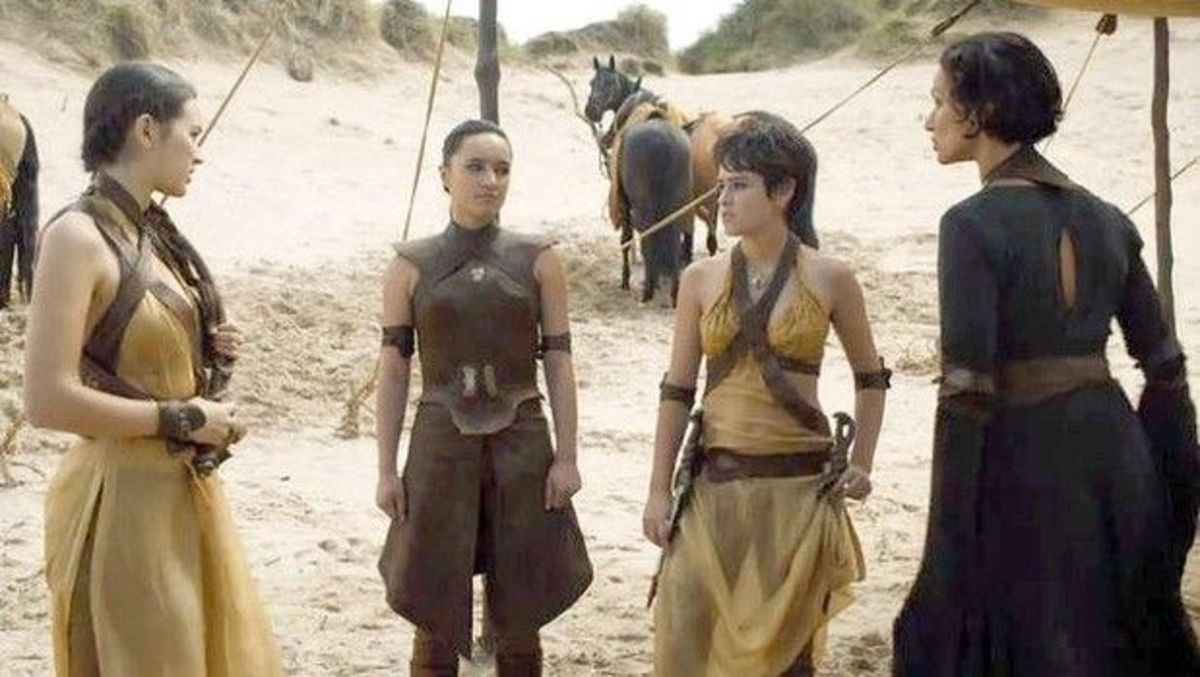 Ellaria Sand (Indira Varma) with the Sand Snakes