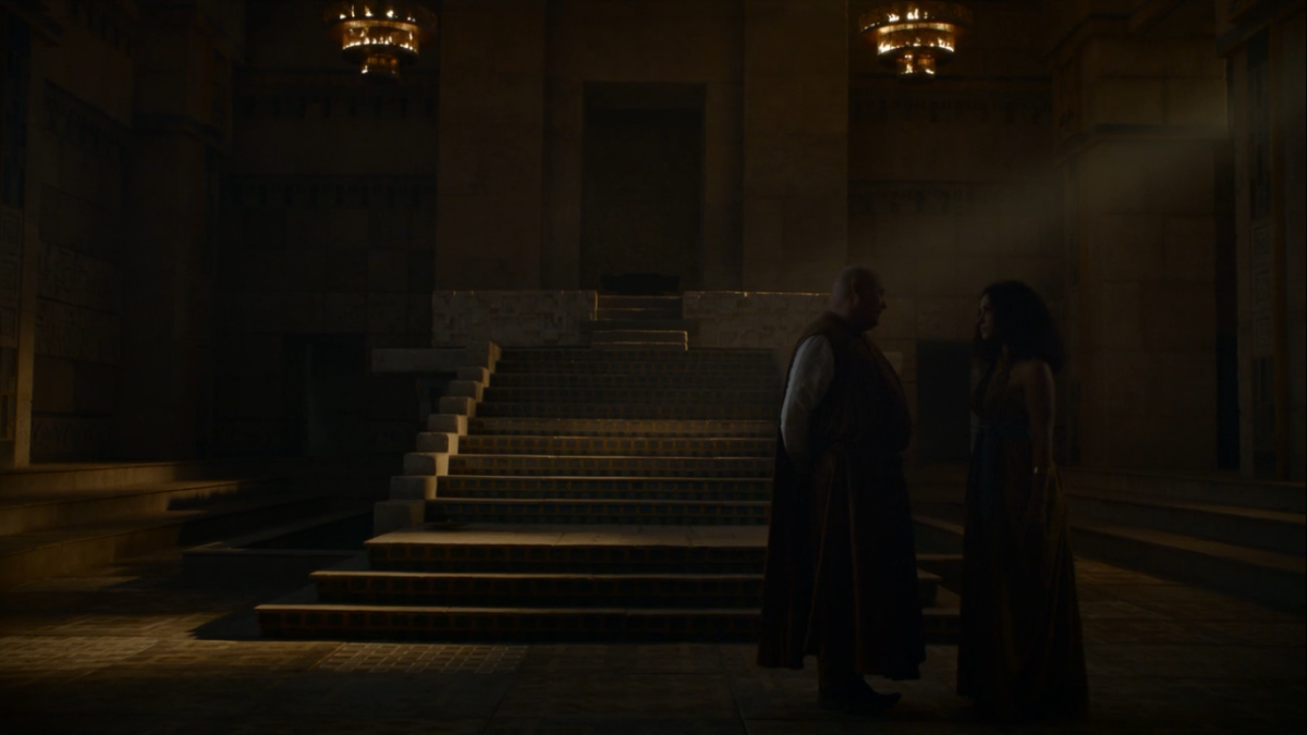 Varys confronts Valla about her traitorous ways.